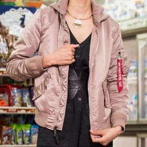 NWT Alpha Industries Natas Mauve Bomber Jacket